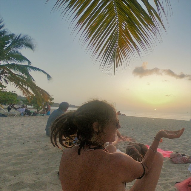 mandy with sun set